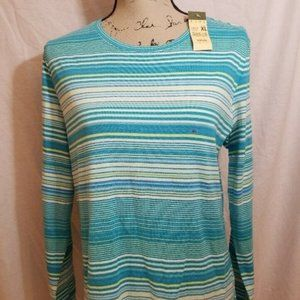 NWT Eddie Bauer Womens XL Top Knit Crew Striped